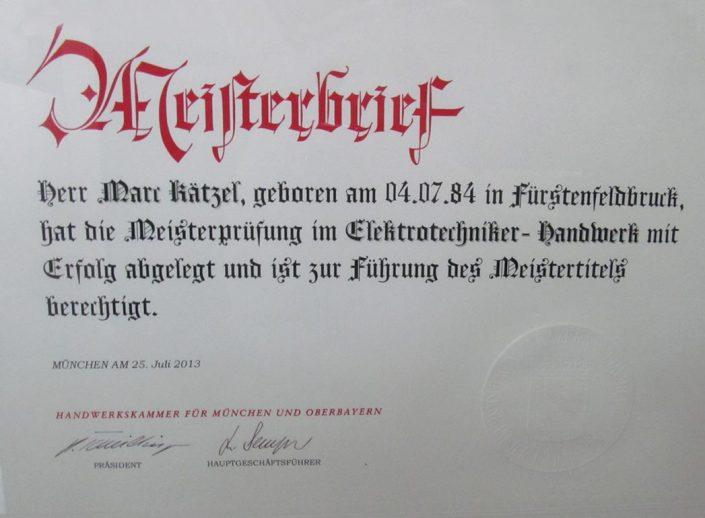 Elektrotechniker Fürstenfeldbruck Meisterbrief