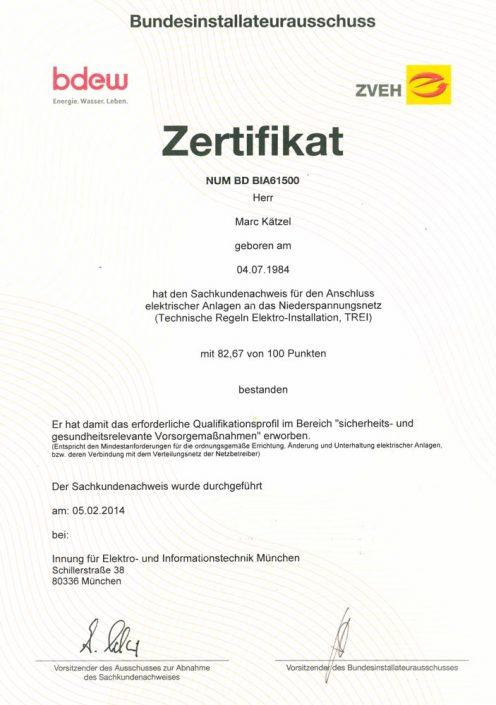 Elektrotechniker Kätzel elektrische Anlagen - Zertifikat